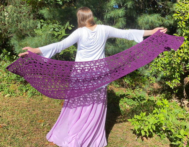 Gems of Hope purple crochet lace shawl
