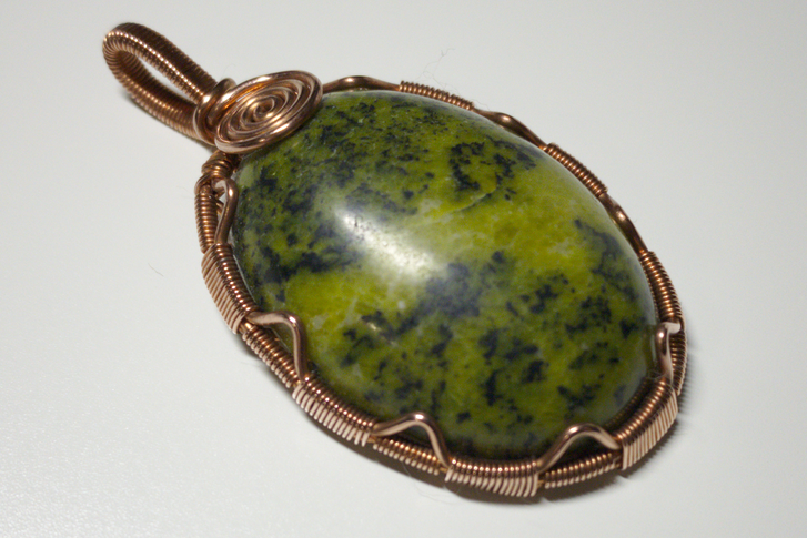 Cabochon pendant wrapped with copper wire